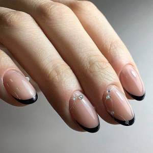Back french manicure nail design idea with rhinestones