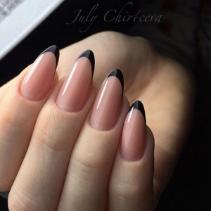 Black french manicure almond shape