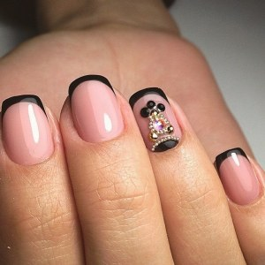 Black French nail design idea with frinestones  and microbeads