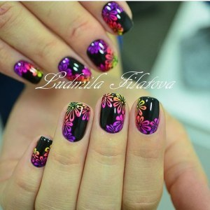 Black manicure with floral multicolor nail design idea