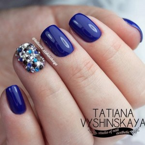 Blue manicure nail design idea with rhinestones