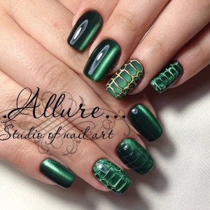 Cat eye  manicure nail design idea - reptile nail art