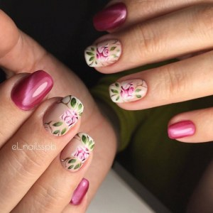 Cat's eye nail design idea with art painting