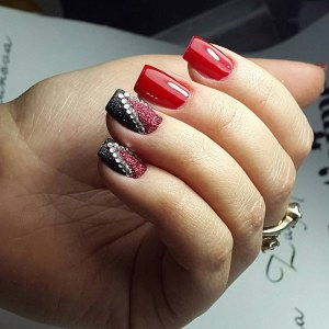 Cool nail design with rhinestones - black and red manicure idea