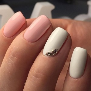 Cool pink and white manicure nail art idea