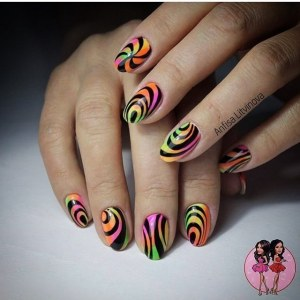 Creative colored manicure idea with art painting gel polish nail design