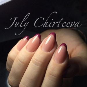 Dark raspberry french manicure