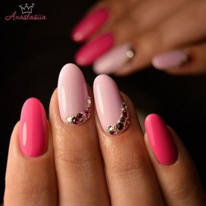 Easy pink manicure nail art idea