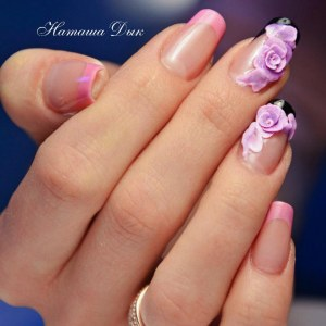 French nail design idea with 3d flowers - pink and black nail art