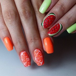 Fruit manicure idea with 3d nail design and art painting - summer bright nail art