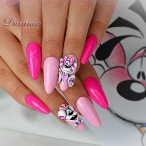 Funny nail design with unusual 3d decor