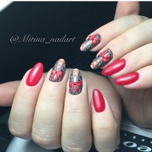 gel polish manicure idea -red nail design