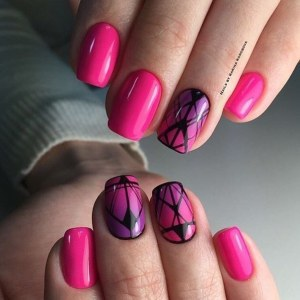 Geometry and gradient nail design pink color nails
