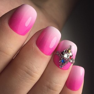 Gradient pink nail design idea with rhinestones