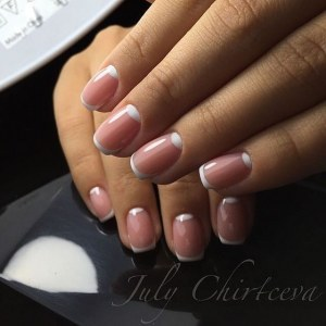 Half Moon French manicure nail design idea