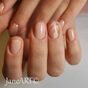 Nude manicure nail art idea