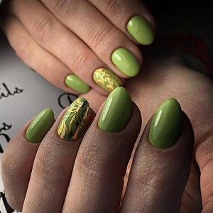 Olive manicure with gold