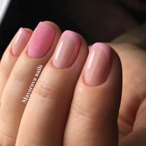 Pink french nails with glitter