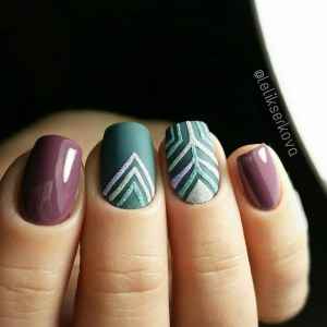 Purple and green manicure idea with geometric nail design