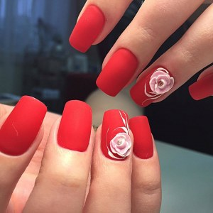 Red matte manicure with 3d nail design