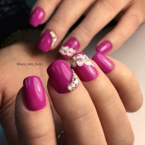 Red nail design - manicure idea with rhinestones and painting