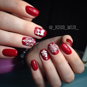 Red winter  gel polish design