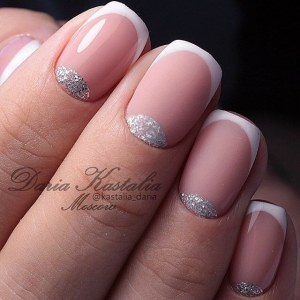 Silver half moon french manicure nails