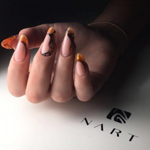 Stained glass manicure  nail design idea  with black painted