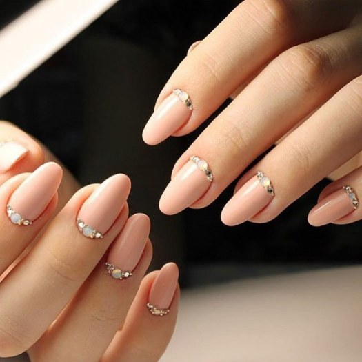 Stylish manicure with rhinestones
