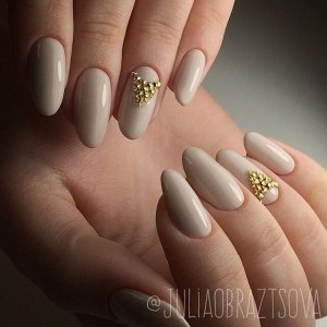 Stylish nude manicure - skin color nail design