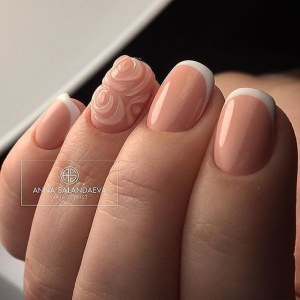 White french manicure with 3D design
