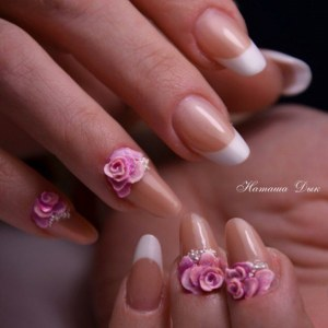 white french nails with beautiful 3D flowers