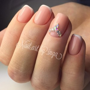 White french nails with rhinestones