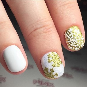 White gold manicure nail design idea with snowflakes